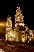 Cathedral lit up at night, Morelia Cathedral, Morelia, Michoacan State, Mexico