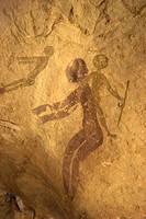 Rock paintings of decorated woman and children on cave, Tassili n´Ajjer, UNESCO World Heritage Site, Algeria, North Africa, Africa