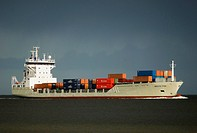 Containership on Baltic Sea, Kiel Fjord, Schleswig_Holstein, Germany, Europe