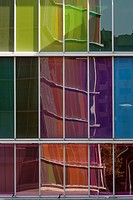 Coloured glass panels with reflections at Contemporary Art Museum _ Museo de Arte Contemporaneo _ MUSAC, Leon, Castilla y Leon, Spain. Architect: Mans...