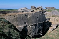 Casemate ruins from the Second World War, Pointe du Hoc, Calvados, Normandy, France, Europe