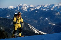 Snow shoe hiking, Kampenwand, Chiemgau, Bavaria, Germany