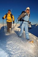 Snowshoe hiking, Weisshorn, Arosa, Graubunden, Switzerland