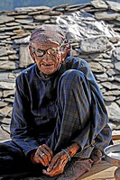 Old woman with thick glasses, Matiyama, Himachal Pradesh, India