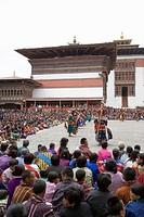 Buddhist festival Tsechu, Trashi Chhoe Dzong, Thimphu, Bhutan, Asia