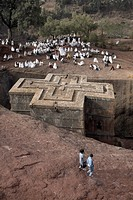 Sunday Mass is celebrated at the rock_hewn church of Bet Giyorgis St. George, in Lalibela, UNESCO World Heritage Site, Ethiopia, Africa