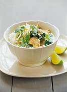 Laksa glass noodle soup with chicken & coconut milk, Malaysia