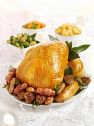 Roast turkey with accompaniments for Christmas
