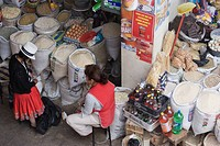 Stalls selling eggs, rice, flour, pulses, pumpkin seeds and other dried goods in the modern 10th de Agosto market on Calle Larga, Cuenca, Azuay Provin...