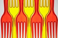 Red and yellow plastic forks