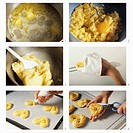 Making choux pastry mandarin hearts