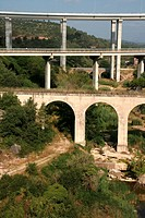 Bridge and viaducts. Gironella, Barcelona province, Catalonia, Spain