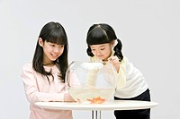 Sisters looking at goldfish in glass bowl