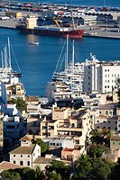 Palma de Mallorca harbor bay from Bellver castle, Majorca, Balearic Islands, Spain