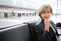 Businesswoman sitting in airport
