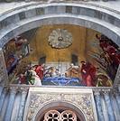 Mosaic of the translation of St. Mark inside St. Mark´s Basilica, Venice, Veneto, Italy, Europe