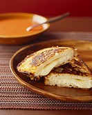 Halved Grilled Cheese Sandwich, Tomato Soup
