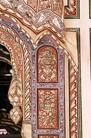 Detail of a painted wall in the public reception area, Kuchaman Fort, Rajasthan state, India, Asia