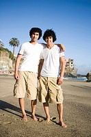 Portrait of twin brothers standing on beach