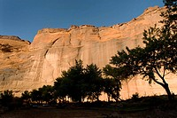 USA, Arizona, Chinle  Canyon de Chelly National Monument in the Navajo Indian Reserve  View of sandstone cliffs from the bottom of the canyon, near Wh...