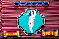 Neon sign of the Bagdad sex club, Barcelona. Catalonia, Spain