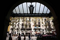 La Rambla as seen from Liceu opera house, Barcelona. Catalonia, Spain