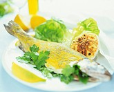 Trout with mustard powder, fried garlic and salad