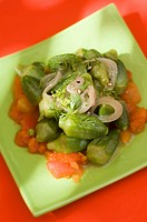 Stewed okra with tomatoes and onions