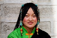 Tibetan gril in Thanka festival,Qinghai,China