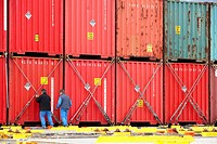 Cargo loading containers. Port of Bilbao, Biscay, Basque Country, Spain