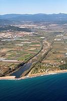 Spain, Catalonia, Barcelona, Maresme, Malgrat de Mar, Punta de la Tordera, La Tordera river