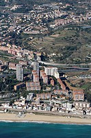 Spain, Catalonia, Barcelona, El Maresme, Montgat. N-II road and freeway C-32 (centre)
