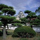 Trees in front of Himeji_jo Himeji Castle, dating from 1580 and known as Shirasagi White Egret, UNESCO World Heritage Site, Himeji, Kansai, Japan, Asi...