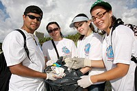 Florida, Miami Beach, Lummus Park, International Coastal Cleanup, volunteers, student, students, Hispanic, boy, girls, teenagers, teens, environment, ...