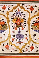 Detail of the fine wall paintings, The City Palace, Jaipur, Rajasthan state, India, Asia