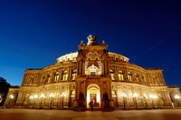 Theatre square Semper opera at night Dresden Saxony Germany