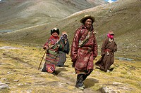 Tibetan Buddhist pilgrims on the kora, walking around Mount Kailas Mount Kailash, which is sacred to Buddhists and Hindus, Tibet, China, Asia