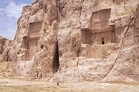 Tombs of Darius II and Artaxerxes left to right, Naqsh e Rustam Naqsh_i_Rustem, Iran, Middle East