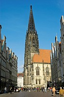 St. Lamberti Church and Prinzipal Market (Prinzipalmarkt), Muenster, North Rhine-Westphalia, Germany