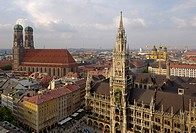 Neues Rathaus New Town Hall, Frauenkirche Cathedral of Our Lady and Marienplatz from the tower of Peterskirche St. Peter´s church, Munich Munchen, Bav...