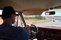 On the road with a jeep between Page (Arizona) and Antelope Canon, Navajo Nation Reservation, Arizona, USA