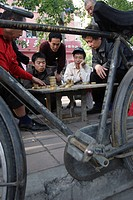 Playing Xiangqi, Chinese Chess, on the streets of Beijing, China, Asia