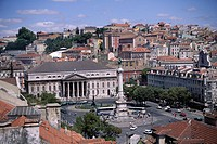 Aerial view of Rossio Square and city, Lisbon, Portugal, Europe