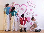 Group painting hearts