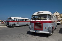 Old fashioned buses, Gozo, Malta, Europe