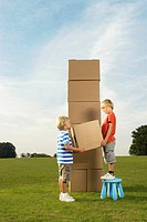 boys building tower