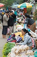 Morning food market, Luang Prabang, Laos, Indochina, Southeast Asia, Asia