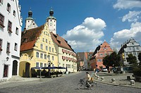 The market place with parish church pc. Emmeram in Wemding in the nature park Altmuehltal in Bavaria , Germany