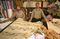 Fabric store, market souq area, Aleppo Haleb, Syria, Middle East