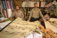 Fabric store, market souq area, Aleppo Haleb, Syria, Middle East